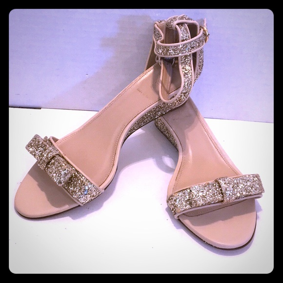 0894cd9e0d6e J. CREW Glitter LILLIAN LEATHER WEDGE SANDALS 10.5